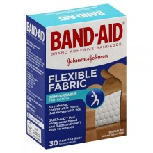 BAND-AID FLEX FABRIC BANDAGES ASSORTED - 30 CT