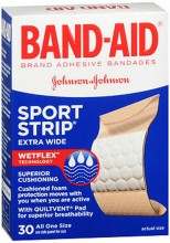 BAND-AID CUSHION CARE SPORT STRIP ADHESIVE BNDG ALL ONE SIZE - 30 CT