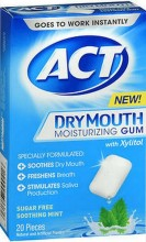 ACT DRY MOUTH MOISTURIZING GUM SUGAR FREE SOOTHING MINT - 20 CT