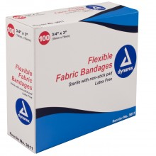 DYNAREX ADHESIVE FABRIC BANDAGES STERILE 3/4