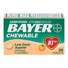 BAYER CHEWABLE LOW DOSE BABY ASPRIIN ORANGE 81MG TABS 36 CT