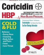 CORICIDIN HBP COLD & FLU TABLETS - 10 CT