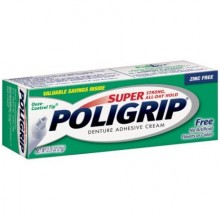 SUPER POLIGRIP DENTURE ADHESIVE CREAM ARTIFICIAL FLAVOR/COLOR FREE - 0.75 OZ
