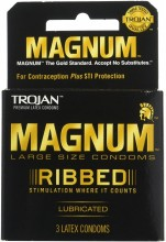 TROJAN MAGNUM RIBBED CONDOMS LUBRICATED 3 CT (NT)