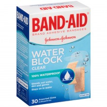 BAND-AID BANDAGES WATER BLOCK CLEAR ASSORTED SIZES - 30 CT